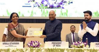 President Ram Nath Kovind at the presentation ceremony of the National CSR Awards in New Delhi on October 29, 2019. Union Minister for Finance and Corporate Affairs, Nirmala Sitharaman and Minister of State for Finance and Corporate Affairs, Anurag Singh Thakur are also seen