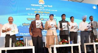 "Union Minister for Railways and Commerce & Industry, Piyush Goyal releasing the ""Stations Cleanliness Survey Report"", on the occasion of the 150th Birth Anniversary of Mahatma Gandhi, at New Delhi Railway Station on October 02, 2019"