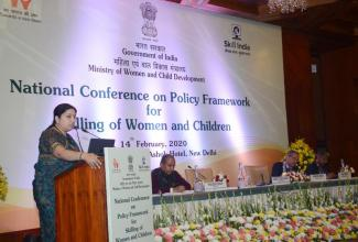 Union Minister for Women & Child Development and Textiles, Smriti Irani addressing at the valedictory session of the National Conference on Policy Framework for Skilling of Women and Children, in New Delhi on February 14, 2020