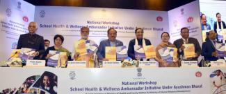 "Union Minister for Health & Family Welfare, Science & Technology and Earth Sciences, Dr. Harsh Vardhan and Union Minister for HRD, Dr. Ramesh Pokhriyal 'Nishank' releasing the publication at the launch of the ""School Health and Wellness Ambassador Initiative under Ayushman Bharat"", in New Delhi on February 12, 2020"